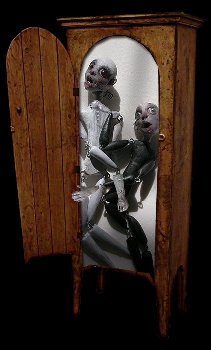 Annabel and Percy in the Wardrobe in their Deathday Suits, the haunted Ghost Dolls of Ravensbreath Castle